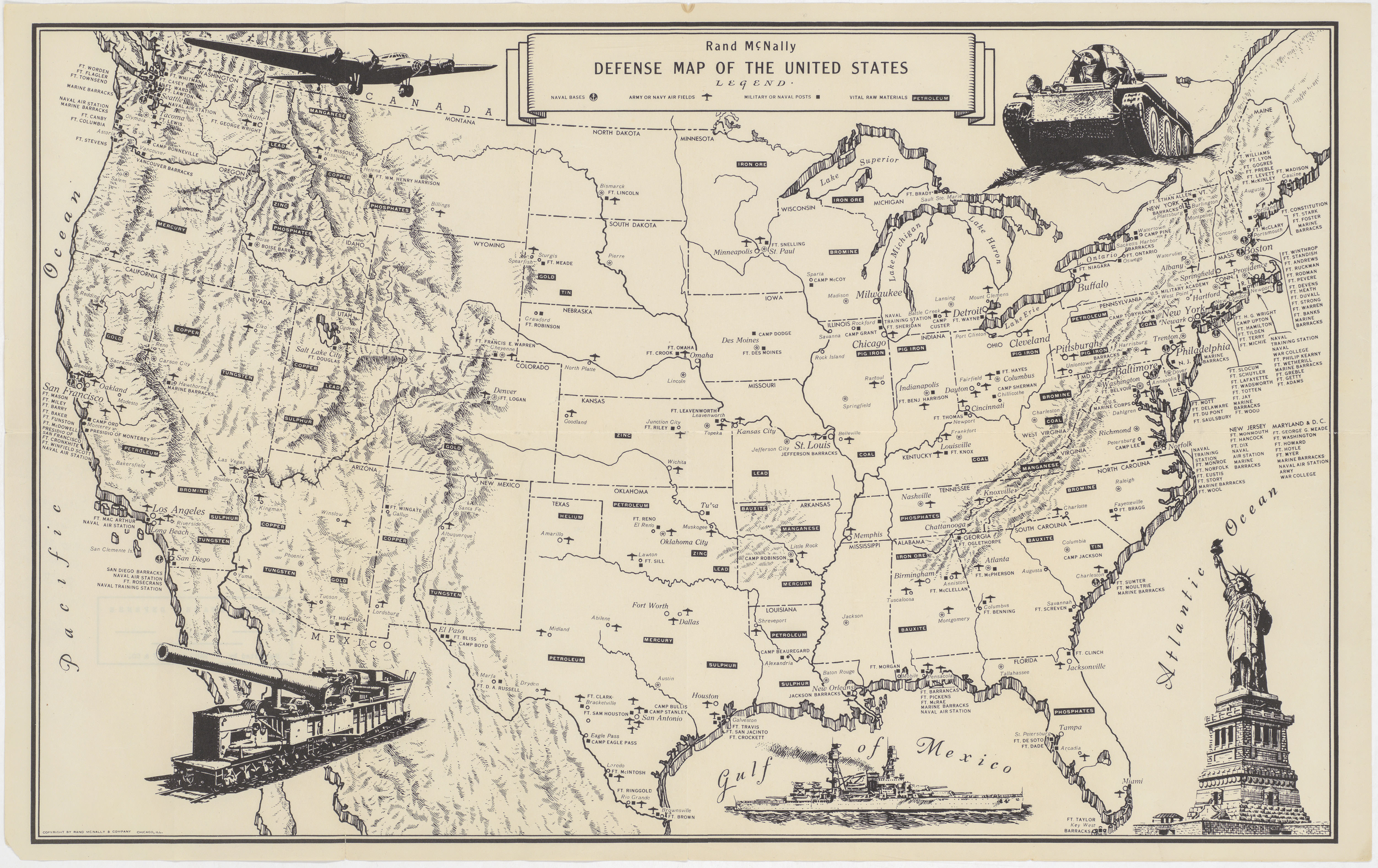 Details about Fascinating World War II era map of U.S. military bases and  vital raw materials.